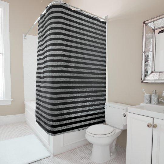 エレガントで黒い銀製灰色ミニマルで大きくストライプなLarg シャワーカーテン
