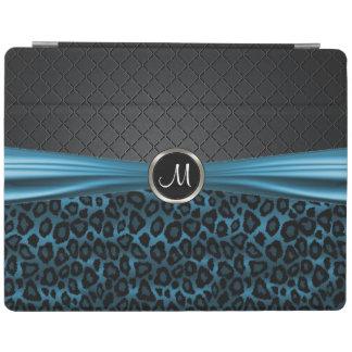 エレガントで黒くおよび青のヒョウパターン iPadスマートカバー