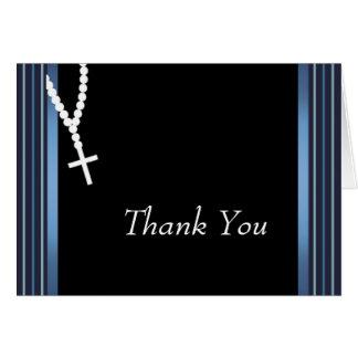エレガントで黒くおよび青の数珠のサンキューカード カード