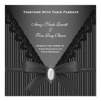 エレガントで黒くストライプのな結婚式招待状 カード