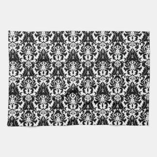 エレガントで黒く及び白いダマスク織 キッチンタオル