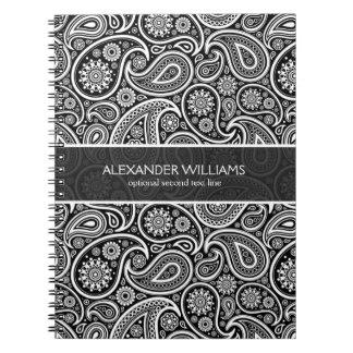 エレガントで黒く及び白いペイズリー ノートブック