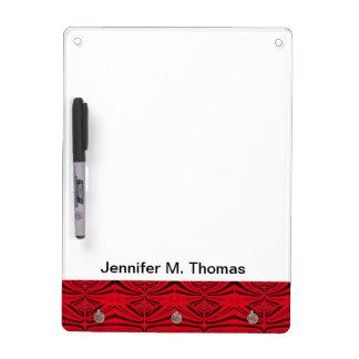 エレガントで黒く赤いパターン ホワイトボード