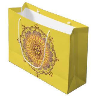 エレガントで、カラフルな曼荼羅の大きい好意のバッグ ラージペーパーバッグ