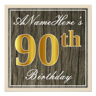 エレガントで、模造のな木、模造のな金ゴールドの第90誕生日 + 名前 カード