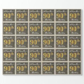 エレガントで、模造のな木、模造のな金ゴールドの第90誕生日 + 名前 ラッピングペーパー