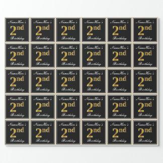 エレガントで、模造のな金ゴールドの第2誕生日 + 名前をカスタムする ラッピングペーパー