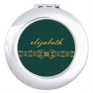 エレガントで、華美なモノグラムベルト-ティール(緑がかった色)の金ゴールド8