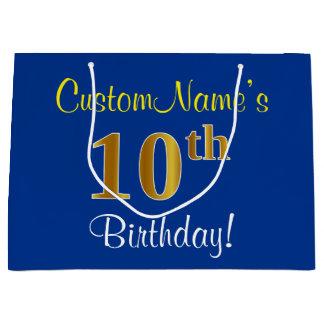 エレガントで、青く、模造のな金ゴールドの第10誕生日 + 名前 ラージペーパーバッグ