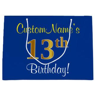 エレガントで、青く、模造のな金ゴールドの第13誕生日 + 名前 ラージペーパーバッグ