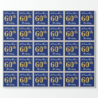 エレガントで、青く、模造のな金ゴールドの第60誕生日 + 名前 ラッピングペーパー