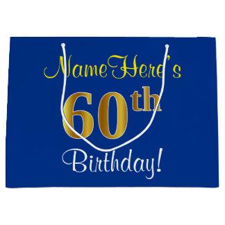 エレガントで、青く、模造のな金ゴールドの第60誕生日 + 名前 ラージペーパーバッグ