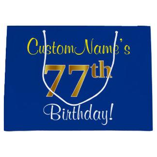 エレガントで、青く、模造のな金ゴールドの第77誕生日 + 名前 ラージペーパーバッグ