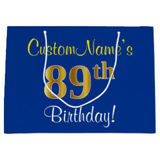 エレガントで、青く、模造のな金ゴールドの第89誕生日 + 名前 ラージペーパーバッグ