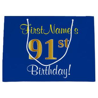 エレガントで、青く、模造のな金ゴールドの第91誕生日 + 名前 ラージペーパーバッグ