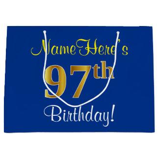 エレガントで、青く、模造のな金ゴールドの第97誕生日 + 名前 ラージペーパーバッグ