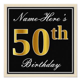 エレガントで、黒く、模造のな金ゴールドの第50誕生日 + 名前 カード