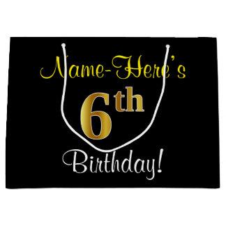 エレガントで、黒く、模造のな金ゴールドの第6誕生日 + 名前 ラージペーパーバッグ