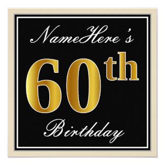 エレガントで、黒く、模造のな金ゴールドの第60誕生日 + 名前 カード