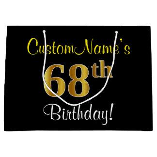 エレガントで、黒く、模造のな金ゴールドの第68誕生日 + 名前 ラージペーパーバッグ