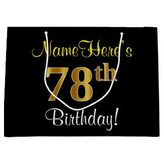 エレガントで、黒く、模造のな金ゴールドの第78誕生日 + 名前 ラージペーパーバッグ