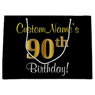 エレガントで、黒く、模造のな金ゴールドの第90誕生日 + 名前 ラージペーパーバッグ