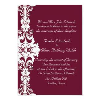 エレガントなあずき色および白い結婚式招待状 カード