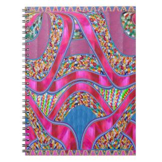エレガントなお祝いのギフトのピンクの絹のリボンのギフト ノートブック