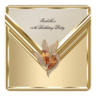 エレガントなこはく色のカラメルのベージュ金ゴールドの誕生会 カード