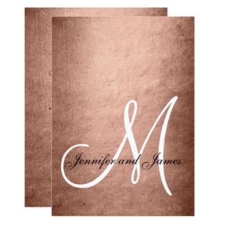 エレガントなのどのばら色の金ゴールドのモノグラムの結婚式 カード