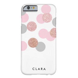 エレガントなばら色の金ゴールドのグリッターのパステル調ピンクの紙吹雪 BARELY THERE iPhone 6 ケース