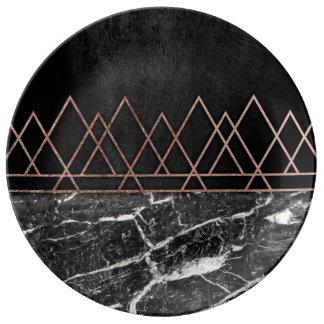 エレガントなばら色の金ゴールドの三角形及び黒く及び白い大理石 磁器プレート
