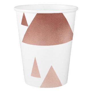 エレガントなばら色の金ゴールドの幾何学的な三角形パターン 紙コップ
