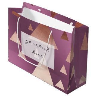 エレガントなばら色の金ゴールドホイルの幾何学的な三角形 ラージペーパーバッグ