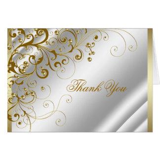 エレガントなアイボリーおよび金ゴールドの渦巻は感謝していしています カード