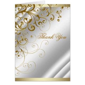エレガントなアイボリーの金ゴールドの渦巻は感謝していしています カード