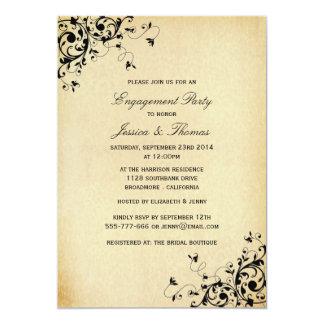 エレガントなアンティークは婚約パーティかシャワー渦巻きます カード