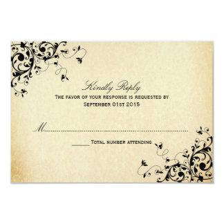 エレガントなアンティークは渦巻きまRSVPカードを結婚します カード