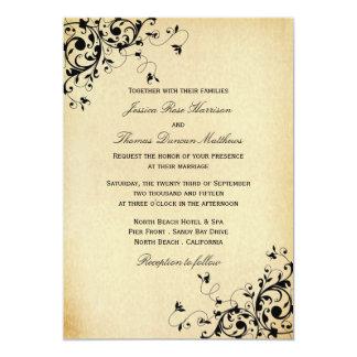 エレガントなアンティークは結婚式招待状渦巻きます カード