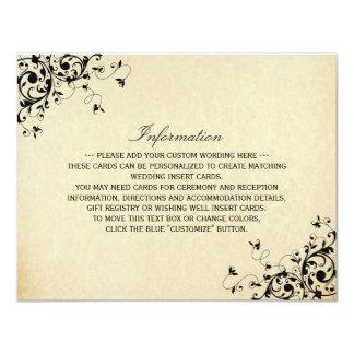 エレガントなアンティークは詳細結婚式の渦巻きます カード