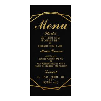 エレガントなアール・デコの結婚式メニューテンプレート ラックカード
