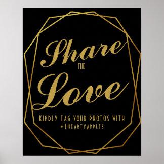 エレガントなアール・デコの金ゴールド及び黒い社会的な媒体のhashtag ポスター