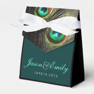 エレガントなエメラルドグリーンおよび金ゴールドの孔雀の結婚式 フェイバーボックス