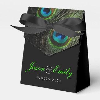 エレガントなエメラルドグリーンの孔雀の結婚式 フェイバーボックス