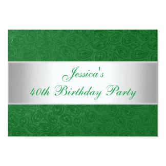 エレガントなエンボスの緑のペイズリーの白人のパーティー2 カード