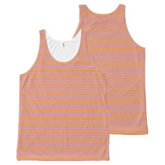 エレガントなオレンジは春のピンクで縞で飾ります オールオーバープリントタンクトップ