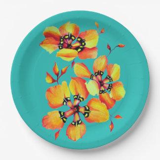 エレガントなオレンジ花-水はあなた専有物をカスタマイズ ペーパープレート