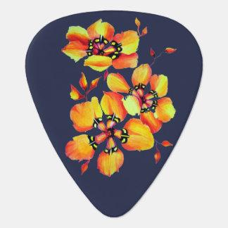 エレガントなオレンジ花-濃紺の背景 ギターピック