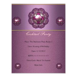 エレガントなカクテルパーティーのピンクのプラム青銅 カード