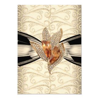 エレガントなカラメルのクリームの黒の金ゴールドのこはく色2 カード